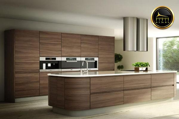 کابینت آشپزخانه طرح چوب-wood-like kitchen cabinet